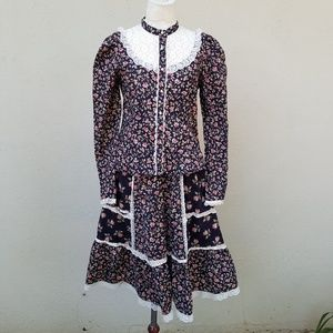 Gunne Sax style Vintage calico two piece